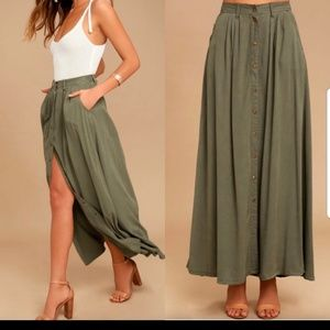Pistola My Squad Olive green maxi skirt NWT